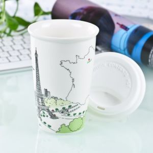Double Wall Porcelain Travel Mug with Silicone Lid (LFR1510) pictures & photos