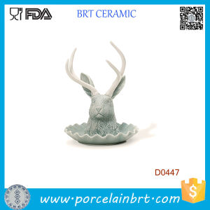Matte Glacier Color Antelope Head Shape Ceramic Jewelry Holder pictures & photos
