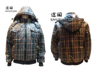 Men Fashion Coating PVC Padding Winter Hoody Jacket (SY-1501) pictures & photos