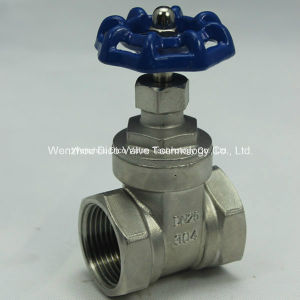 Stainles Steel Thread Gate Valve with Blue Handle Wheel pictures & photos