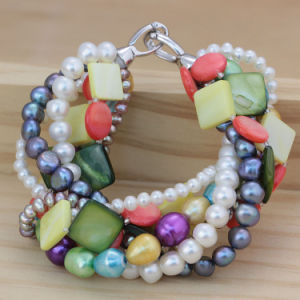 Fashonable Multi-Strands Charming Pearl Bracelet Jewelry (E150040) pictures & photos