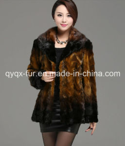 Factory Direct Supply Women′s 100% Mink Fur Coat Gradient Color