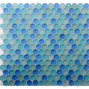 Round Blue Frosted Pool Crystal Glass Mosaic