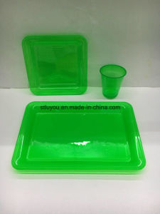 Disposable Plastic Transparent Neon Pet Colored Party Tableware pictures & photos