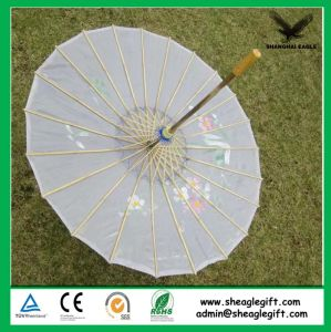 Customized Logo Promotional Bamboo White Paper Umbrella pictures & photos