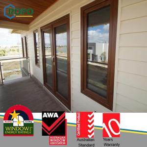 European Style UPVC Casement Glass Doors with Woodcolor Pr904 pictures & photos