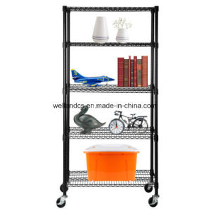 Black 4 Tier 800lbs Wire Metal Shelving Adjustable Steel Commercial Shelf Rack pictures & photos