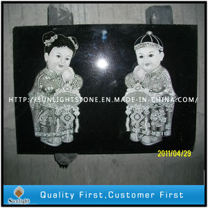 Polished Shanxi Black Granite Art Shadow Carving / Sculpture pictures & photos