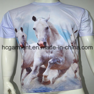 Man′s 3D Sublimation Printed Polyester Round Neck T- Shirt pictures & photos