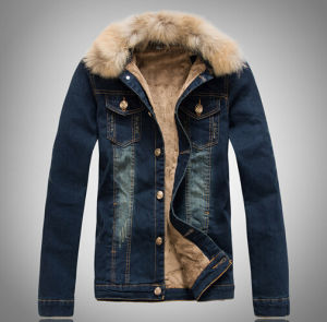 Fashion Style Jean Jacket with Hoodie for Men pictures & photos