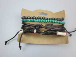 Leather, Wood Beads, Polyester Cords Set Bracelet, Imitation Jewelry Men Bracelet pictures & photos