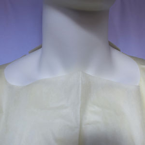 Due Cut Yellow SMS Isolation Gown with Knitted Cuffs pictures & photos