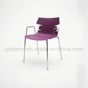 Wholesale Color Customizable Plastic Chair with Chrome Steel Leg and Armrest (SP-UC494) pictures & photos