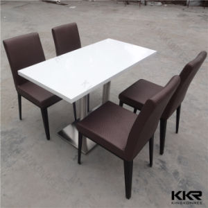 4 Person White Marble Solid Surface Stone Table pictures & photos