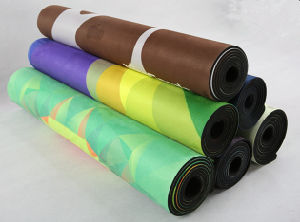 Galaxy Pattern Printed Yoga Mat Microfiber Layer Bonded to Natural Rubber Base pictures & photos