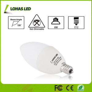 USA Market Milky White 6W E12 E14 Dimmable LED Candle Bulb with Ce RoHS UL pictures & photos
