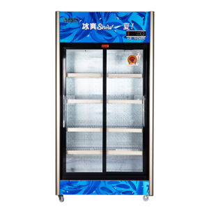 Upright Sliding Beverage Refrigerator with Three Automatic Doors pictures & photos