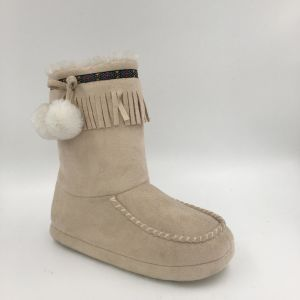 Cream Microfibire MID-Calf Indoor Boots for Lds pictures & photos