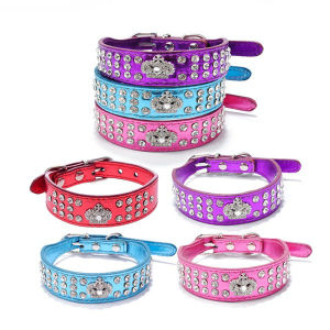 Bright Rhinestones Large Dog PU Leather Crown Pet Collars pictures & photos