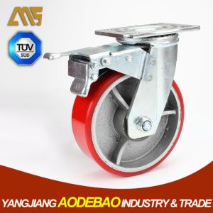 Heavy Duty Double Brake PU on Cast Iron Caster Wheels