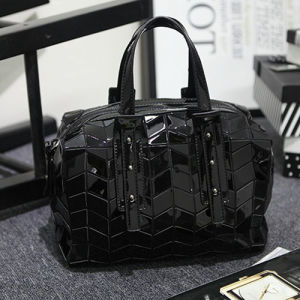 Black Square Patterns PU Tote Bag (A0118-1) pictures & photos