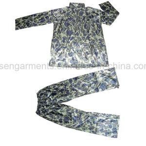 Polyester Waterproof Jacket Pants Trousers Rainwear Rain Suit Rainsuit (RWA06) pictures & photos