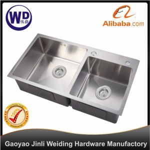 Kitchen Sink Undermount Handmade Double Bowl Water Tank Sink 8245 Bar  Stainless Steel