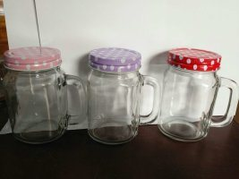 High Quality Glass Mason Drinking Jar with Metal Cap