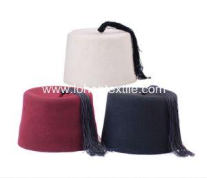 100% Wool Material Muslim Prayer Cap Fez Cap with Tassel