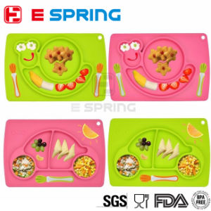 Baby Feeding Table Mat Snail Shape Silicone Food Tray pictures & photos