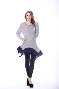 Women Gray Pullow Thin French Cut Ladies Blouse Patterns pictures & photos
