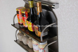 Wall Hanging Stainless Kitchen Double Spice Rack (606) pictures & photos
