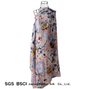 Women Polyester Voile Flowers Printing Scarf Shawl pictures & photos