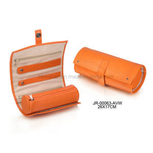 Round Shape Oragne Leather Portable Jewellery Packaging Jewelry Roll pictures & photos