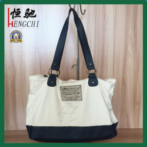 High Quality Canvas Cotton Carrier Bag with Leather Bottom pictures & photos