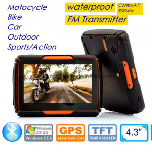 4.3inch IP65 Waterproof Outdoor Sports Action Moto Bike Car GPS Navigation with Bluetooth Headset, FM Transmitter, Wince 6.0, Cortex-A7, 800MHz, GPS-4350 pictures & photos