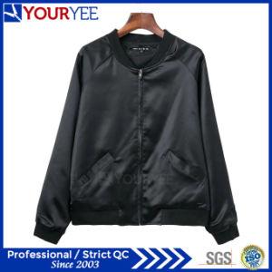 Fashion Stand Collar Baseball Satin Womens Bomber Jacket (YBJ114) pictures & photos