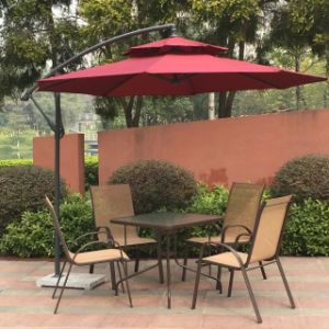 Outdoor Textilene Rattan Furniture with 5 PCS Patio Outdoor Folding Chairs Table and Backyard Bistro pictures & photos