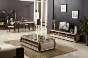 2017 New Model Black Glass MDF Coffee Table with Drawer pictures & photos