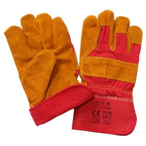 Brown Leather Cotton Full Lining Winter Safety Glove pictures & photos