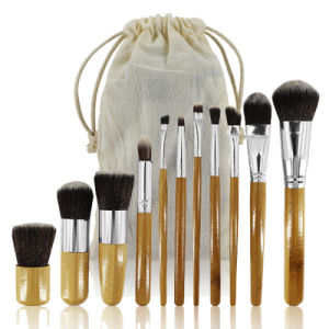 11PCS Professional Essential Complete Makeup Brushes Set with Bamboo Handle