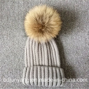 Online Handmade Real Raccoon Fur POM POM-Poms Knitted Hat pictures & photos