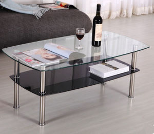 Simple Design Office Hotel Living Room Stsainless Steel Tempered Glass Coffee Tea Table