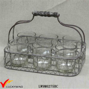 Rustic Votive Candle Holder 6 Round Jars in Wire Basket pictures & photos