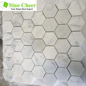 Hot Sell White Carrara Hexagon Tile Stone Mosaic Floor Tile pictures & photos