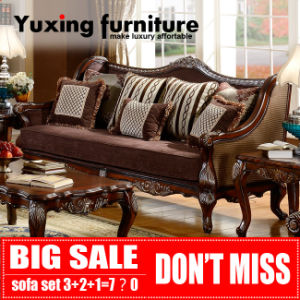 Classic Wooden Fabric Sofa for Living Room Traditional Home Furniture Set