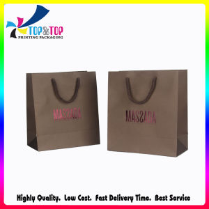 Cotton Handle Metallic Color Stamping Kraft Paper Shopping Bags pictures & photos