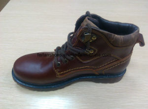 High Quality MID-Cut Boots Warmer Leather Shoes Stock (FF616-2) pictures & photos