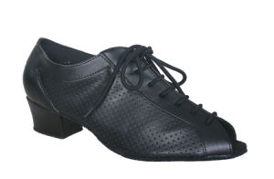 Women′s Black Leather Open Toes Cha-Cha/Salsa Dance Practice Shoes pictures & photos