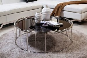 Contemporary Glass Coffee Table with Stainless Steel Base (CCT-024)